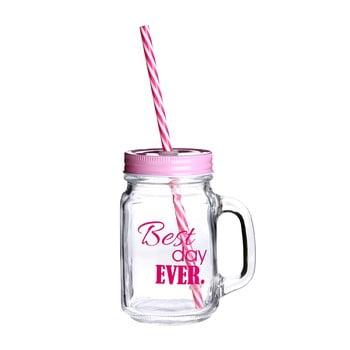 Pahar cu pai și capac Premier Housewares Best Day, 450 ml, roz