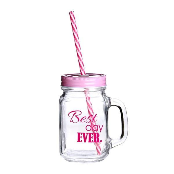 Szklanka z różowym wieczkiem i słomką Premier Housewares Best Day,450ml