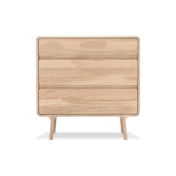 Komoda z masivního dubového dřeva se 3 zásuvkami Gazzda Fawn