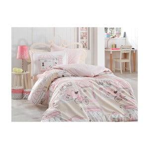 Lenjerie de pat cu cearșaf din bumbac Boutique, 160 x 220 cm, roz