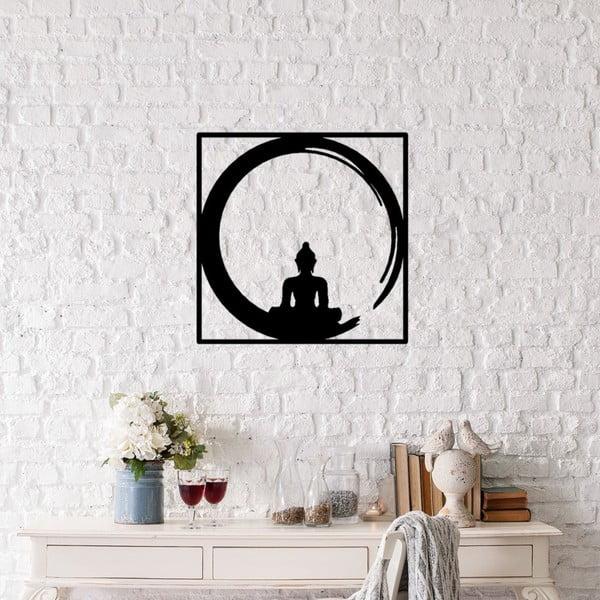 Decorațiune metalică de perete Buddha, 50 x 50 cm, negru