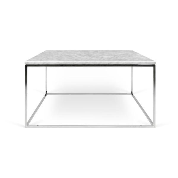 Bílý mramorový konferenční stolek s chromovými nohami TemaHome Gleam, 75 x 75 cm