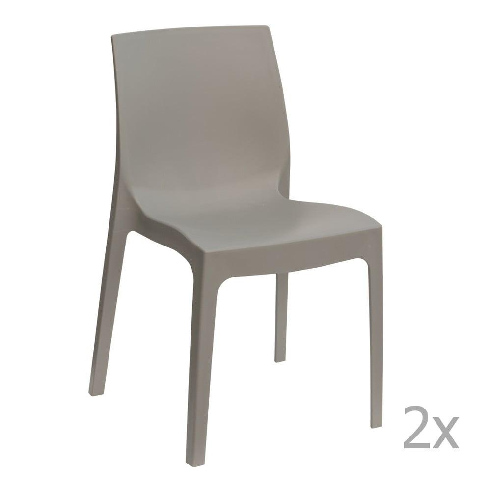 Sada 2 šedých jídelních židlí Castagnetti Rome