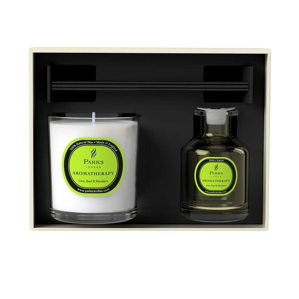 Dárková sada svíčky a difuzéru Aromatherapy, vůně limetky a bazalky