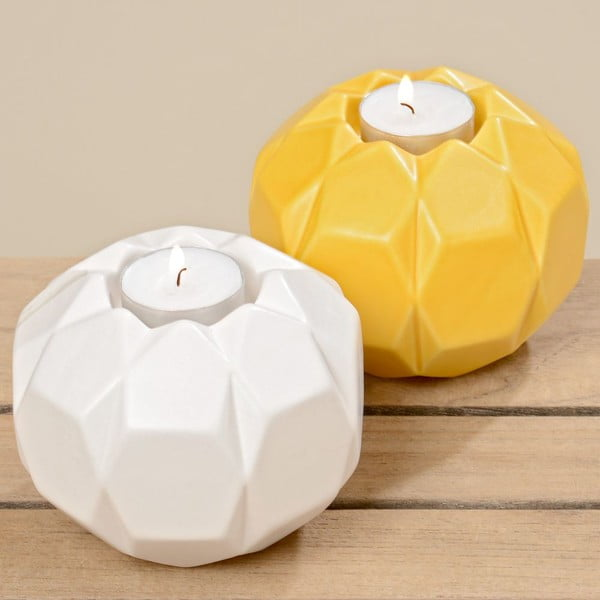 Sada 2 svícnů Origami White Yellow