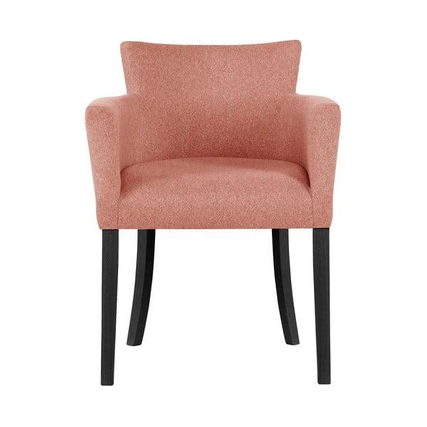 Růžová židle s černými nohami z bukového dřeva Ted Lapidus Maison Santal