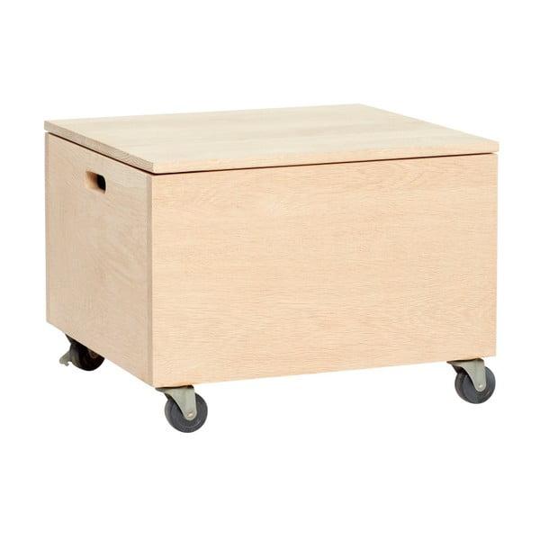 Pojazdný úložný box na kolieskach z dubového dreva Hübsch Oak Wooden Box