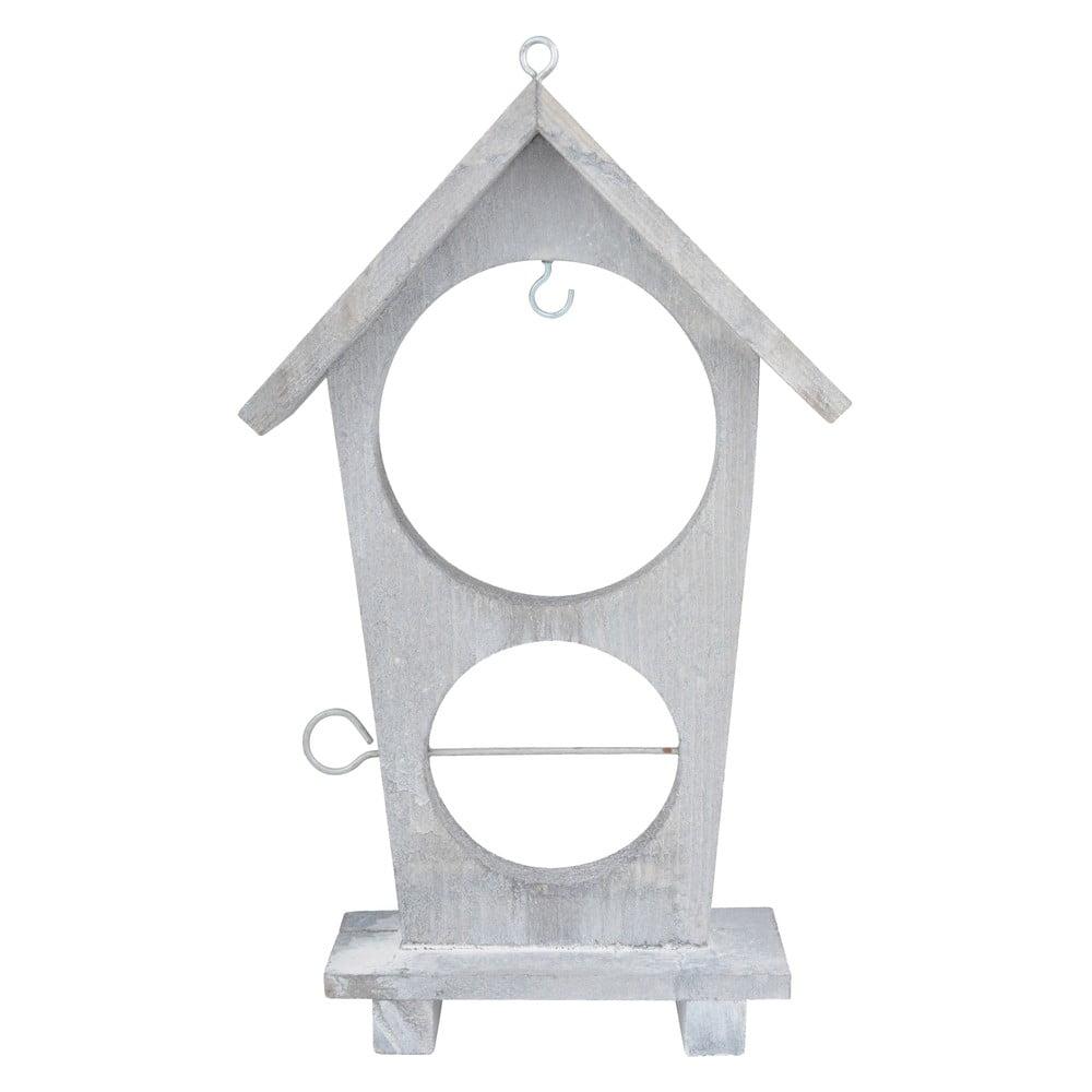 Bílé dřevěné krmítko pro ptáčky na jablka a lojovou kouli Esschert Design