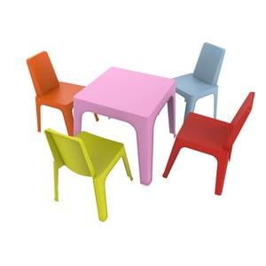 Dětský zahradní set 1 růžového stolu a 4 židliček Resol Julieta