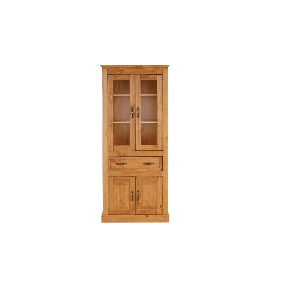 Hnědá čtyřdveřová vitrína z masivního borovicového dřeva Støraa Suzie