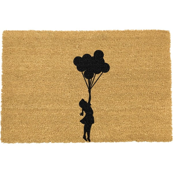 Covoraș intrare din fibre de cocos Artsy Doormats Flying Balloon Girl, 40 x 60 cm