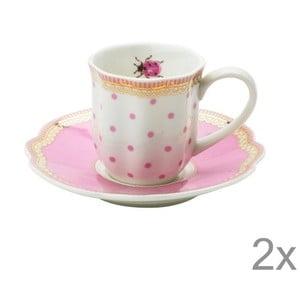 Porcelánový šálek na espresso s podšálkem Rosie od Lisbeth Dahl, 2 ks