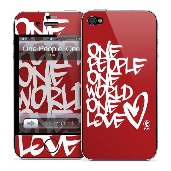 Samolepka na iPhone 4/4S, One People One world One Love