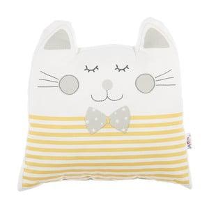 Žlutý dětský polštářek s příměsí bavlny Apolena Pillow Toy Big Cat, 29 x 29 cm