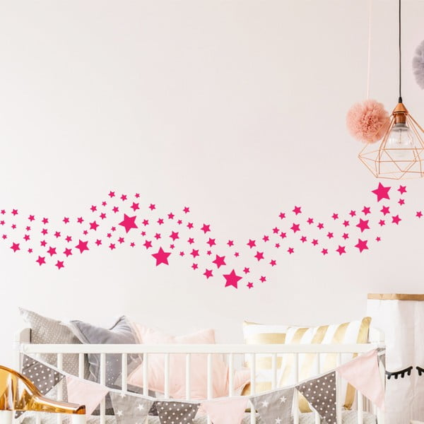 Sada 100 růžových nástěnných dětských samolepek Ambiance Stars