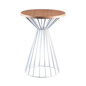 Bílý odkládací stolek s deskou v dekoru dubového dřeva sømcasa Niko