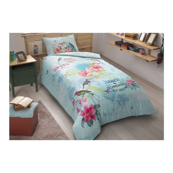 Lenjerie cu cearșaf din bumbac ranforce pentru pat dublu Summer Turquoise, 160 x 220 cm