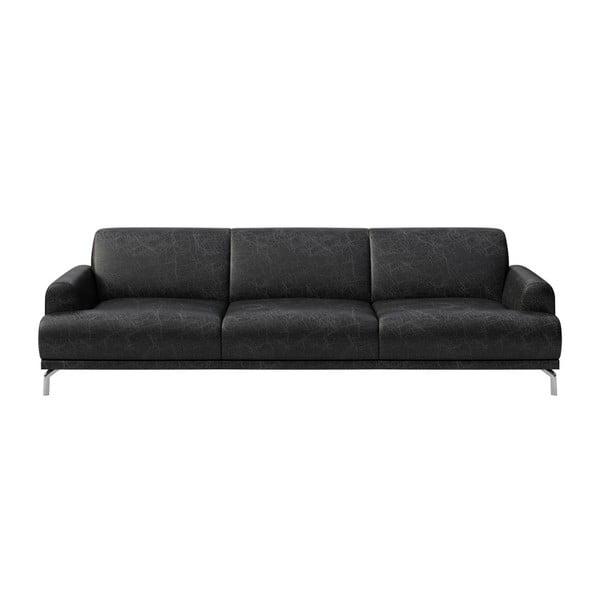Canapea din piele cu 3 locuri MESONICA Puzo, negru