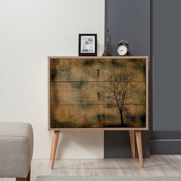 Dřevěná komoda se 3 šuplíky Kasiani Tree