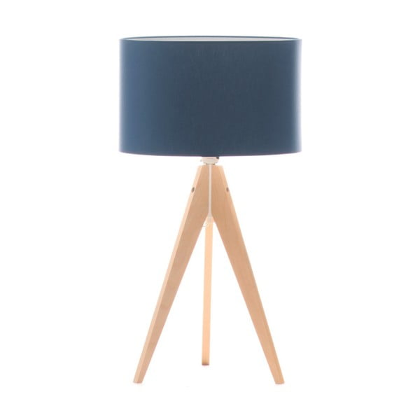 Modrá stolní lampa Artista, bříza, Ø 33 cm