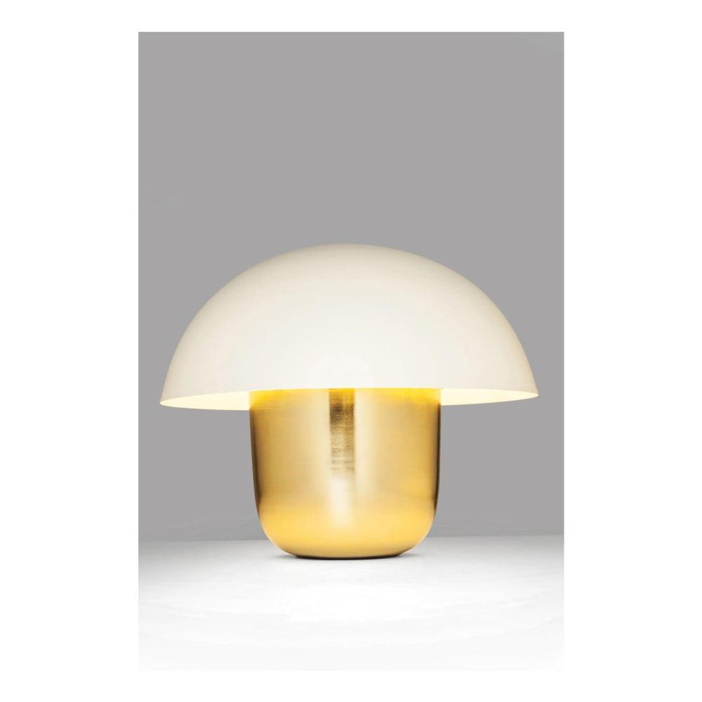 Stolní lampa ve zlaté barvě s bílým stínítkem Kare Design Mushroom