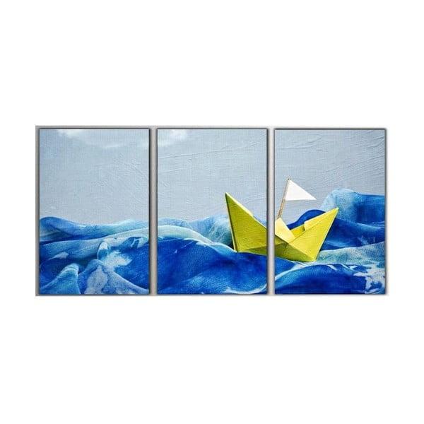 3dílný obraz Paper Boat, 45x90 cm