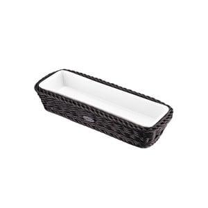 Porcelánová servírovací miska v košíku Korb Long, tmavá