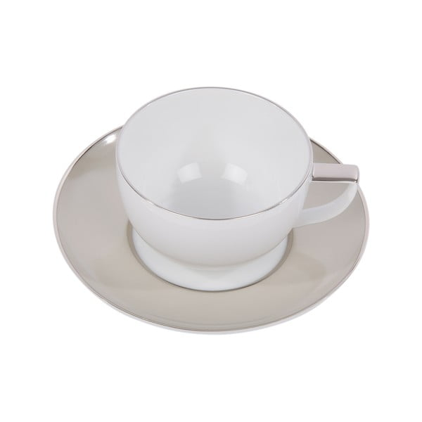 Sada 6 hrnků na kávu s podšálkem Ramponi Pearl Gray