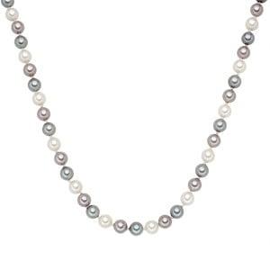 Lănțișor cu perle gri albe Perldesse Muschel, ⌀ 8 mm, lungime 42 cm