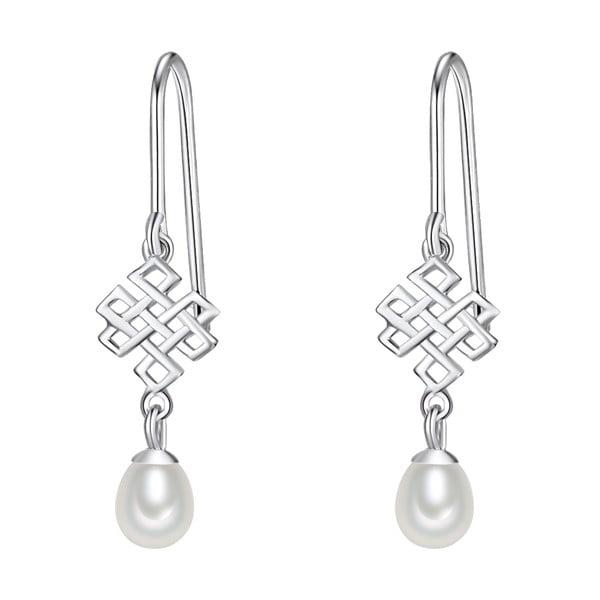 Stříbrné náušnice s bílou perlou Chakra Pearls Done