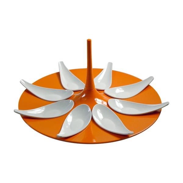 Oranžovo-bílý servírovací set na jednohubky Entity