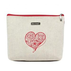 Béžovo-červená kosmetická taštička Dara bags Baggie Big No.497