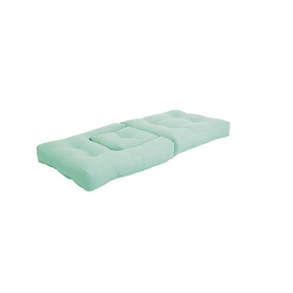 Mentolově zelené dětské rozkládací křesílko s taburetkou Karup Mini Cube
