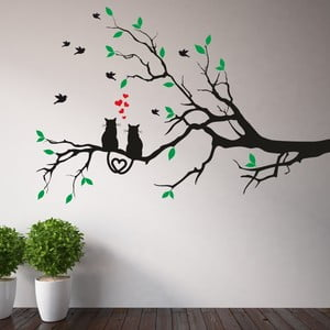 Samolepka na stěnu Větev a zamilované kočky, levá strana