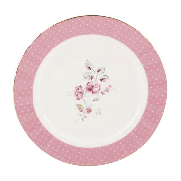 Ružovo-biely porcelánový dezertný tanier Creative Tops Ditsy