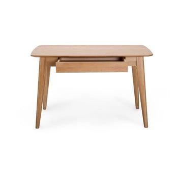 Birou cu sertar și picioare din lemn de stejar Unique Furniture Rho