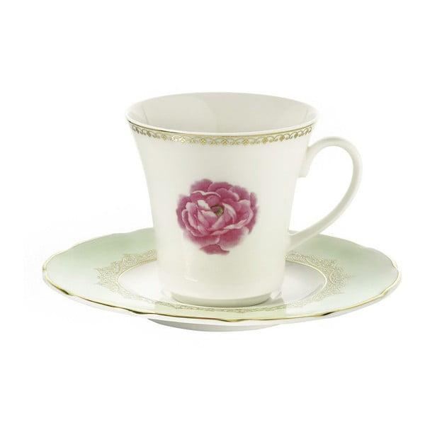 Sada 6 porcelánových šálků s podšálkem Kutahya Roses, 50 ml