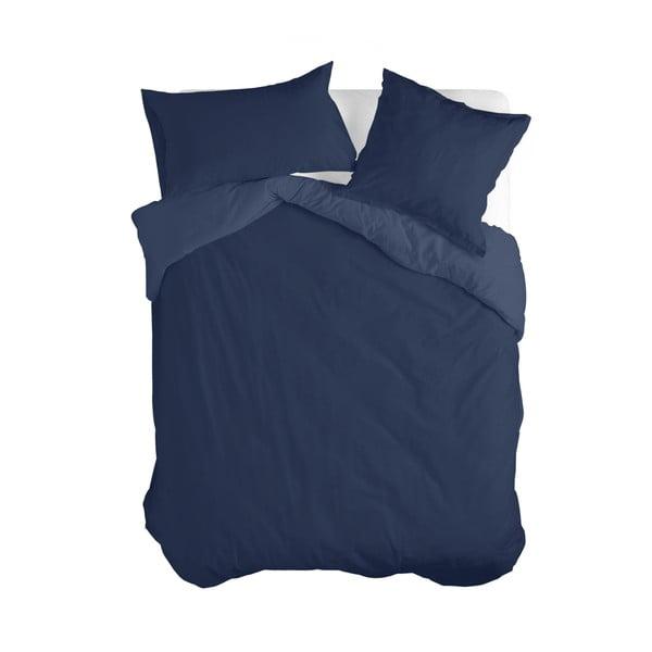Tmavě modrý bavlněný povlak na peřinu Happy Friday Basic, 140 x 200 cm