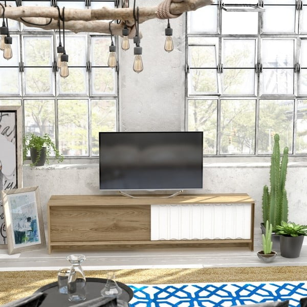 TV stolek v dekoru dubového dřeva s bílými detaily Newyork