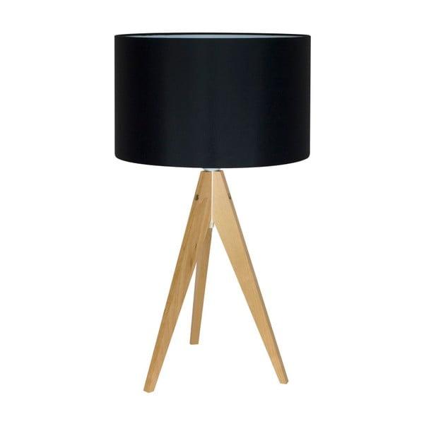 Černá stolní lampa 4room Artist, bříza, Ø 33 cm