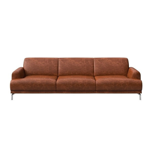 Canapea din piele cu 3 locuri MESONICA Puzo, maro