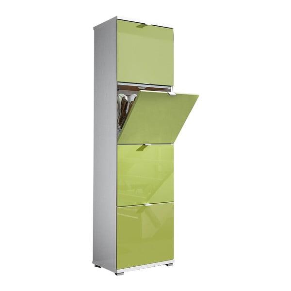 Biela skrinka na topánky so zelenými zásuvkami Germania Colorado, výška 174 cm