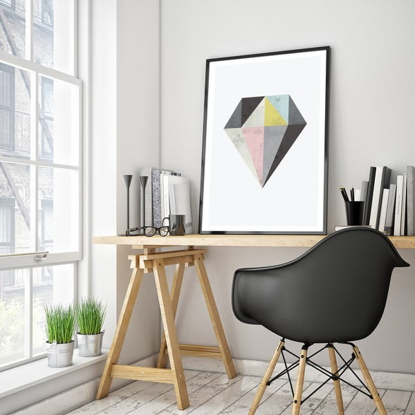 Plakát v dřevěném rámu Diamond, 38x28 cm