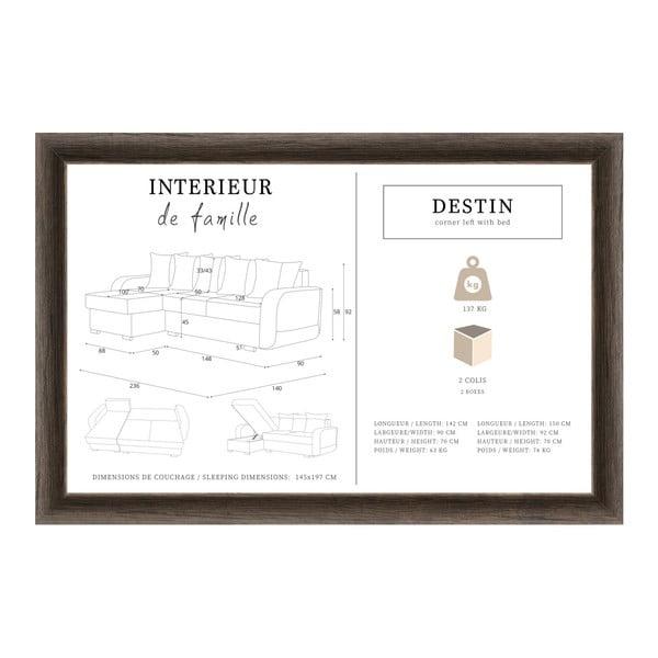Černo-šedá rohová rozkládací pohovka s úložným prostorem Interieur De Famille Paris Destin, levý roh