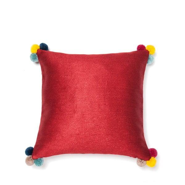 Červený polštář Casa Di Bassi Pom Pom, 40x40cm