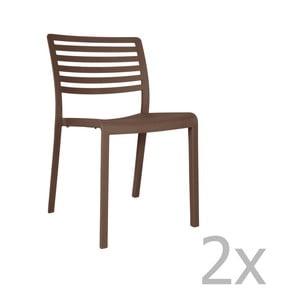 Sada 2 čokoládově hnědých zahradních židlí Resol Lama