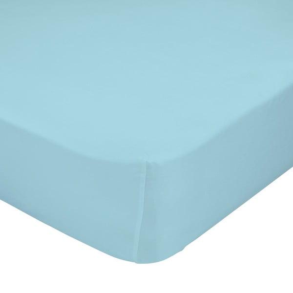 Světle modré elastické prostěradlo Happy Friday Basic, 90x200cm