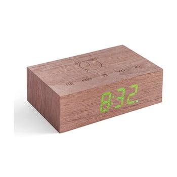 Ceas deșteptător cu LED Gingko Flip Click, maro închis