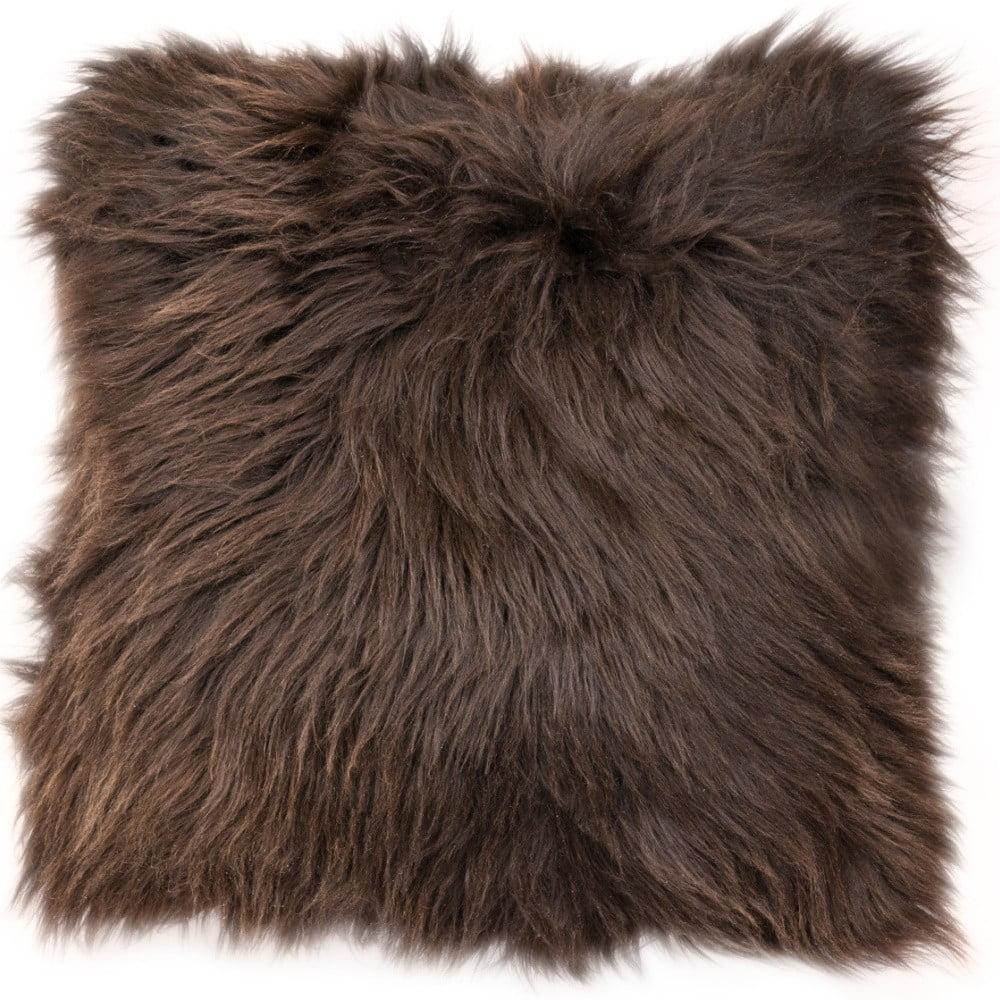Hnědý kožešinový polštář s krátkým chlupem, 35 x 35 cm