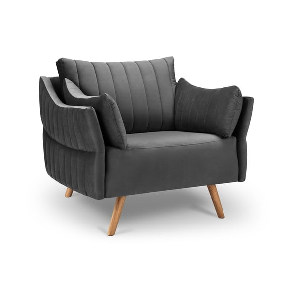 Ciemnoszary fotel z askamitnym obiciem Interieurs 86 Elysée